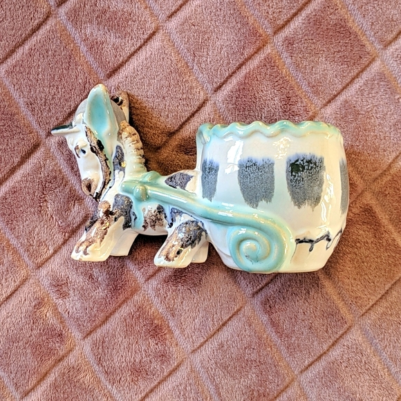 Vintage Donkey and Cart Teal and Blue Planter